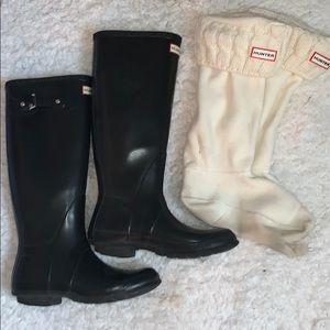 Tall Black Hunter Boots w/ White Hunter Socks!